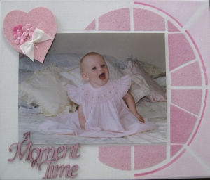 A canvas done with the lovely pink sand!  The heart has also been coated in sand.  Ellipse stencil was used on the canvas.