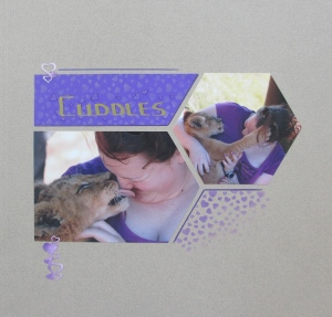 The Love texture stencil has been used in contrasting colours on the paper and the page.