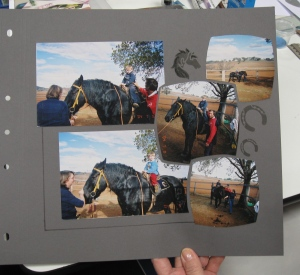 Although no sand on this page, a lovely page by Dallas using the Swing stencil.