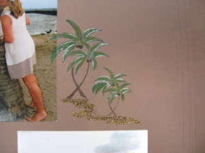 A close-up of Joy's page .. forgot to take a few more of the rest of her project .. so watch this space. We used an Glue pen to stick the sand to the page.  Stamp used was from the Holidays Theme.