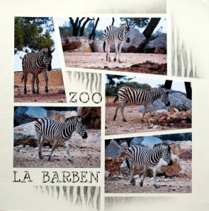 This page has been completed using chalking pens to keep to the theme of Zebra stripes.